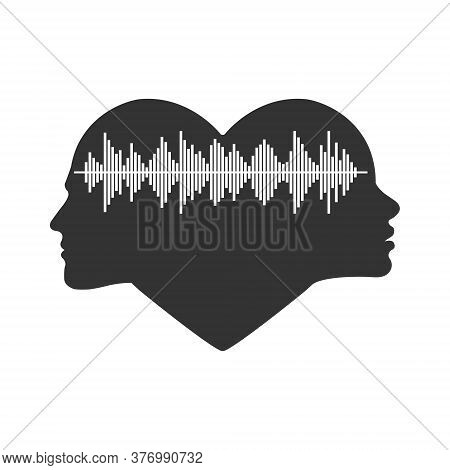 Voice Spectrum Of Men And Women. Female And Male Head Silhouette And Voice Spectrum. Vector Illustra
