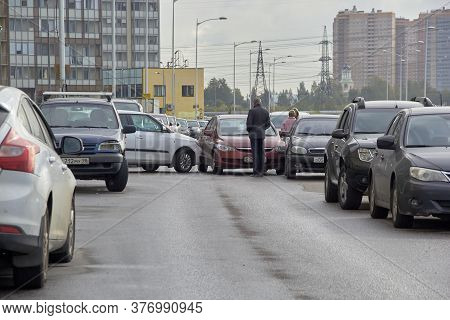 Saint Petersburg, Russia-june 08, 2019: A Crashed Car Is A Typical Accident In The City