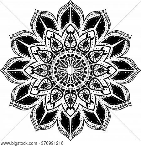 Mandala Pattern,vector Design In Black,.eps
