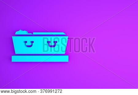 Blue Open Coffin With Dead Deceased Body Icon Isolated On Purple Background. Funeral After Death. Co