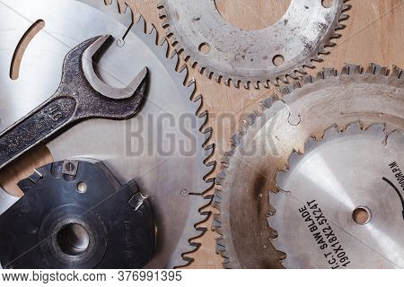 Circular Saws And Milling Cutter. Top View.