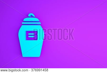 Blue Funeral Urn Icon Isolated On Purple Background. Cremation And Burial Containers, Columbarium Va