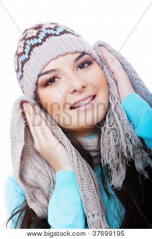 smiling winter woman