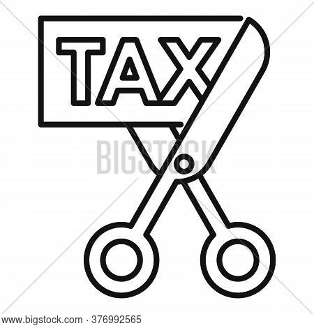 Scissors Cut Tax Icon. Outline Scissors Cut Tax Vector Icon For Web Design Isolated On White Backgro