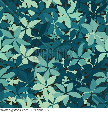 Modern Monotone Marine Blue Leaves With Foliage Pattern Background