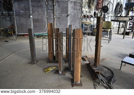 Muscat, Oman - 20-07-2020 : Metal Parts In The Workshop And Fabrication Shed.