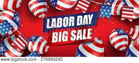 Labor Day Sale Promotion Advertising Banner Template Decor With American Flag Balloons And American