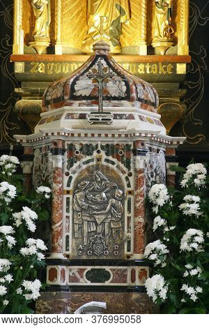 ZAGREB, CROATIA - MAY 11, 2013: Tabernacle on the main altar in the Church of the Assumption of the Virgin Mary in Remete, Zagreb, Croatia