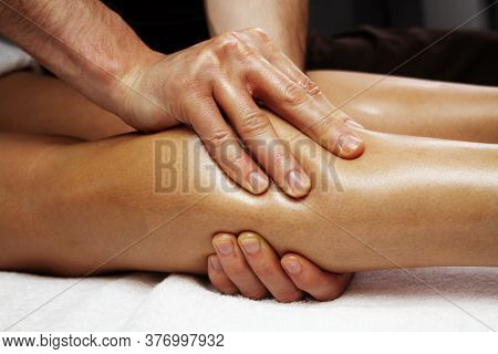 Lymphatic Drainage Massage Of The Calf Muscles.