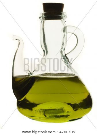 Glass Jug With Pouring Neck, Filled With Olive Oil