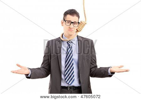 Young businessman in suit with a rope around his neck, gesturing isolated on white background poster
