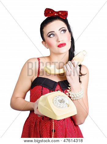 Pinup Woman Chatting On Yellow Telephone