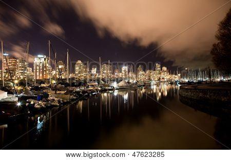 Vancouver City Harbor At Night, Canada Bc