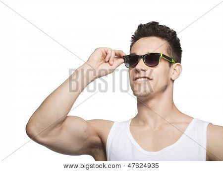 Man In Tanktop Holding Goggle Over White Background