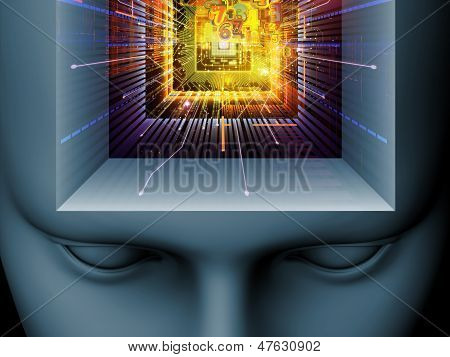 Backdrop composed of cutout of male head and symbolic elements and suitable for use in the projects on human mind consciousness imagination science and creativity poster