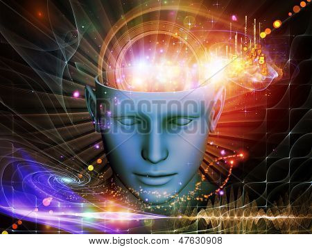 Composition of cutout of male head and symbolic elements suitable as a backdrop for the projects on human mind consciousness imagination science and creativity poster