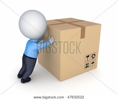 3d small person and big carton box.Isolated on white. poster