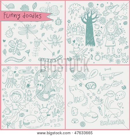 Funny cartoon set in vector. Flower, ring, fishes, princess, diver, squid, crab, frog, worm, caterpillar, spider, butterfly, hedgehog, cat, dog, rabbit, whale, octopus, mermaid and others