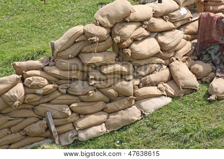 Retaining Wall In A Pillbox Shelter Of A Roadblock In Military War Zone