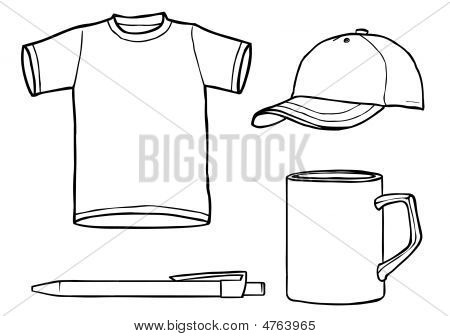 Outline Template Shirt, Cap, Mug, A Pen