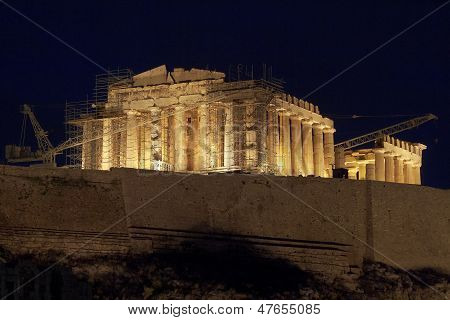 Parthenon temple illuminated, Athens Greece
