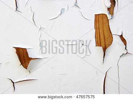Old wooden painted surface with cracks poster