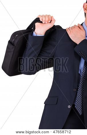 Image of Business man suffering from shoulder pain. poster