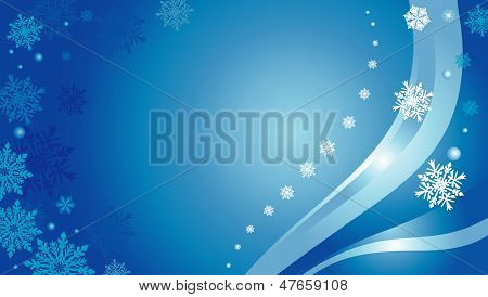 Blue  Christmas Card Background With Snowflakes 2