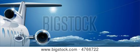 vector template at tourist theme: airplane cruising in the sky. Available EPS-8 vector format separated by groups and layers for easy edit. poster