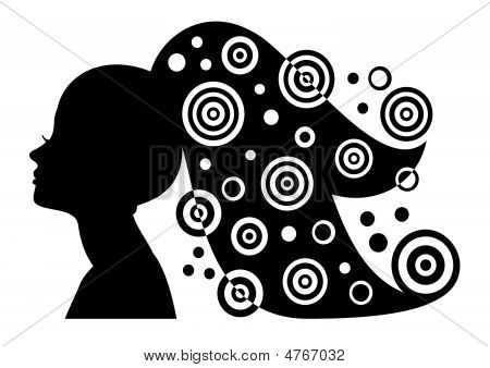 Woman Silhouette With Long Hair