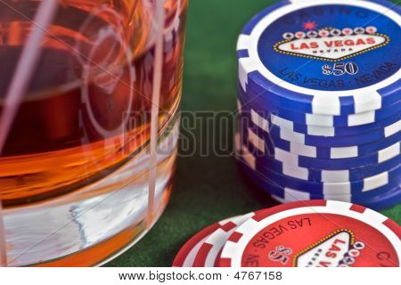 Playing Chips And Drink