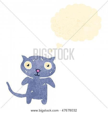 retro cartoon little cat with thought bubble