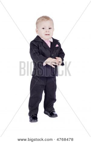 Crying Little Boy In Classic Suite. Isolated On White Background