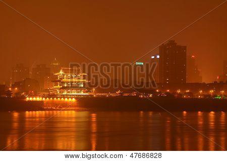 Orange Chau Tau At Night, Changsha City, Hunan Province, China