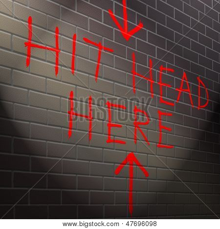 Illustration depicting graffiti on a brick wall with a hopeless concept. poster