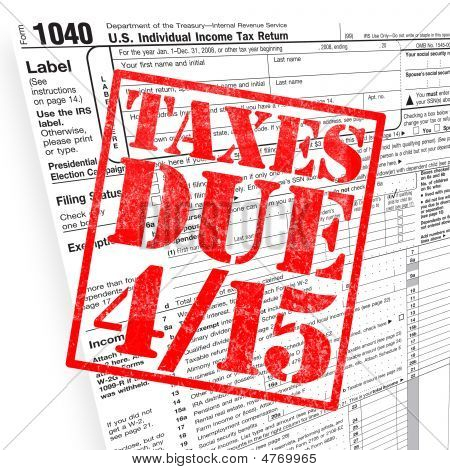 A tax time themed montage for US taxpayers warning about the due date of April 15 poster