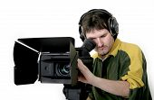 cameraman work at stand high definition camcorder poster