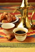 Arabic coffee with dates poster