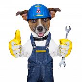 craftsman dog with one thumb up holding a tool poster