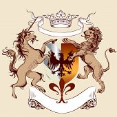 Vector heraldic illustration in vintage style with shield armor lion and horse for design poster