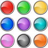 Set of vector glossy multicolored web blank buttons poster