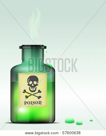 Green glass bottle of poison