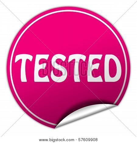 Tested Round Pink Sticker On White Background