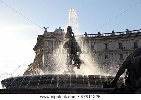 Piazza della Repubblica in Rome (Italy) with fountain poster