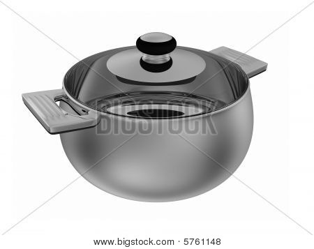 Stainless Pot Isolated On White