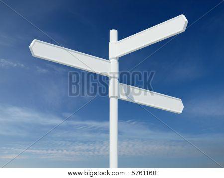 Three Way Blank White Sign