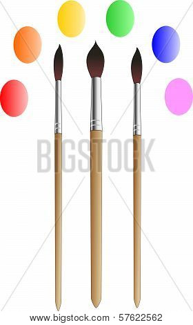 The three brushes for drawing
