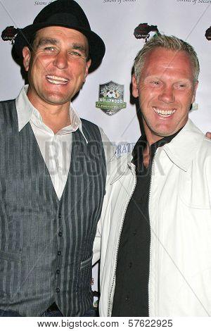 Vinnie Jones and Warrem Barton at the World Cup Showdown Fundraiser, El Guapo Cantina, Los Angeles, CA.  11-06-09