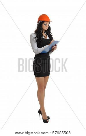 Tall Woman With A Tablet And A Construction Helmet
