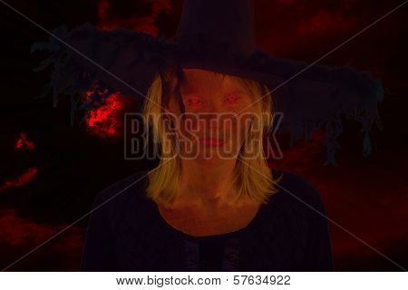 Dark Witch In Front Of Drastic Black Bloody Sky